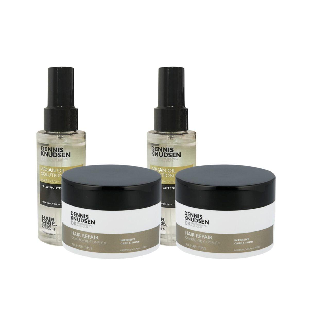 to styk argan oil og to styk hair repair produkter fra dennis knudsen